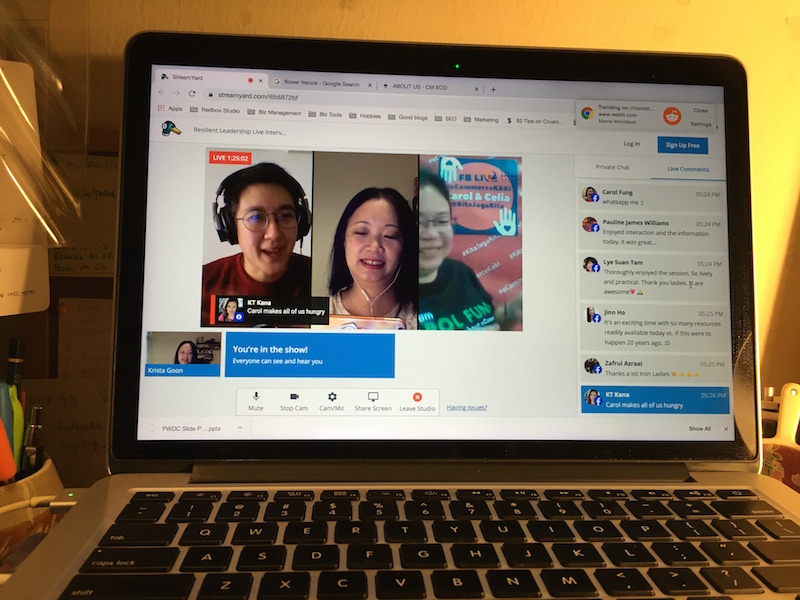 Mac laptop screen showing three women in a Facebook Live session